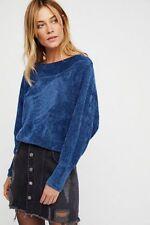 Free People Blue Velvet Sky Pullover Top Size Medium M NWT NEW