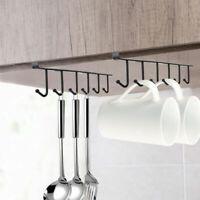 2pc 6 Hooks Kitchen Cup Holder Hang Under Cabinet Kitchen Storage Rack Organizer