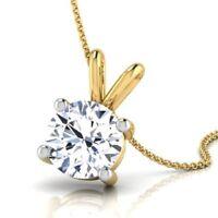 14K Real Yellow Gold Necklaces 2.00 Ct VVS1/D Round Solitaire Diamond Pendant