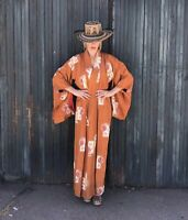 Vintage Stunning Japanese Kimono- Long Robe With Red Lining- Lounge In Style