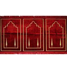 Turkish Islamic Muslim Wide 3 Person Prayer Rug Janamaz Sejadah Red