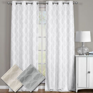 Paisley Thermal Blackout Curtain Panels with Grommets (Pair)