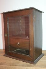 Antique Vintage Cigar Humidor cabinet glass front with lock