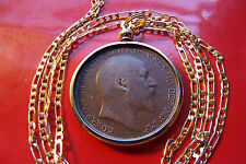 """1902-1910  English Rare King Edward VII Penny Coin Pendant 28"""" Gold Filled Chain"""