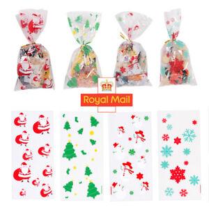 50X Christmas Cellophane Cello Loot Bags Sweet Bag Santa Snowflake Snowman Party