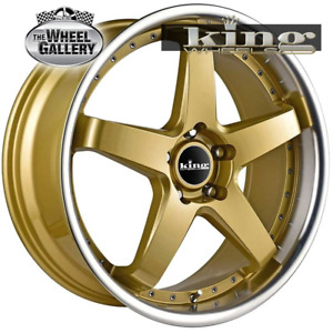 King Detroit 18x8 5/114.3 ET+35 Gold Withmachined lip Set of Alloy Wheels