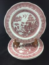 """Set of 3 SPODE Archive Collection Georgian Series Cranberry WILLOW 10 1/2"""" Plate"""