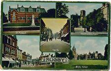 RUGBY Multiview Art Museum High St Market Place Vintage Colour PC c1910