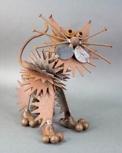 "Cat Sculpture Welded Scrap Metal Nails Handmade Industrial Yard Folk Art 14"""