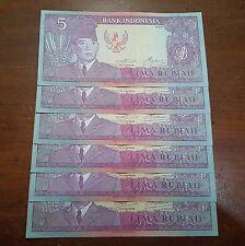 6 Pcs Consecutive Indonesia 5 Rupiah Soekarno 1960 aUNC-