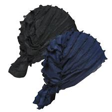 2 Pcs Womens Ruffle Chemo Hat Beanie Scarf Turban Headwear For Cancer Black Navy