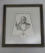 ' CHIEF BLACK EAGLE ' original Line Art by Native Artist ZANE CEOLEY Signed 1989