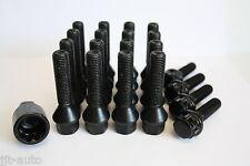 16 X M12 X 1,5 40mm Rueda de la aleación Pernos + pernos de bloqueo Negro cónico Lug Nuts