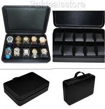Watch Wallet Box Case 10 Organizer Storage Briefcase Black Carbon Fiber Zippered
