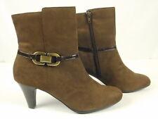 Karen Scott 9M Brown Faux Suede Heel Ankle Boots Booties Shoe Zip Faux Buckle
