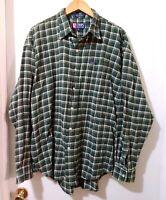 Chaps Ralph Lauren Mens Size XL Long Sleeve Green Plaid Cotton Shirt