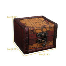 Retro Small Lock Wooden Jewelry Holder Storage Necklace Bracelet Gift Box Case