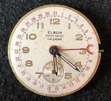 Vintage Elbon Cal 262 Calendar Men's Watch Movement Parts Pointer Date 17j Swiss