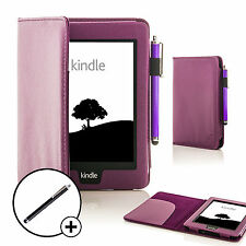 Leather Purple Smart Case Cover for Amazon Kindle Paperwhite 2015 + Stylus