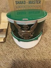 vintage MARCHING BAND SHAKO HAT ADULT 22 1/4 Sparkly Green w/SILVER EAGLE