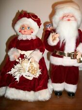 VINTAGE MR AND MRS SANTA CLAUS FIGURINES 13 INCHES TALL RARE