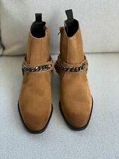 NWT ZARA MAN TABBACO BROWN LEATHER BOOTS WITH CHAIN DETAIL SIZE UK5 EUR39 £89.99