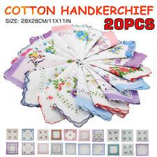 20Pcs Vintage Floral Flowers Bird Handkerchief Cotton Square Hanky Ladies Women