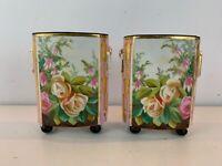 Ant Old Paris Likely Limoges Porcelain Pair of Cache Pots w/ Hand Painted Dec.
