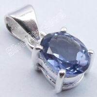 Original Violet Iolite Pendant 925 Solid Silver Deco Fashion Jewelry
