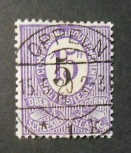 GERMANIA,GERMANY  Alta Slesia 1920 Cifra OVP 5pf su 15pf  USED 10F Fehlaufdruck