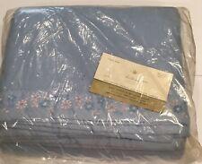 NIP Fieldcrest Blue Acrylic Blanket Embroidered Satin Binding 72 X 90 Vtg USA