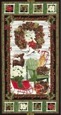 "Timeless Treasures Country Christmas CM3287 Black Panel 24"" Cotton Fabric BTY"