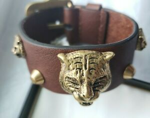 NEW Authentic GUCCI Tiger Head Brown Leather Buckle Bracelet Brown