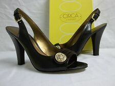 Circa Joan & David Size 10 M Keely Brown Leather Open Toe Heels New Womens Shoes
