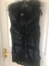 Black Gilet Zip Up Hood Real Fox Fur Knited Jacket One Size