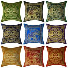 "Indian Brocade Silk Cushion Cover Handmade Design Elephant Pillow Case Cover 12"""