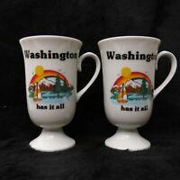 Vintage Papel Washington Has it Tall Irish Coffee Pedestal Mug Pair / USA Made