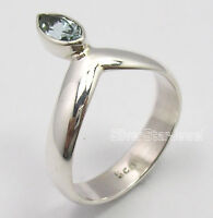 925 Sterling Silver Original CUT BLUE TOPAZ Gemstone INEXPENSIVE Ring Any Size