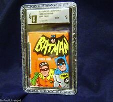 1966 TOPPS BATMAN 1ST SERIES 5 CENT GUM CARD WAX PACK GAI 9 MINT