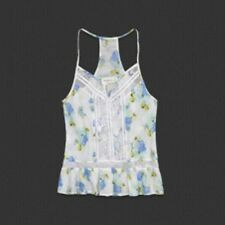 NWT ABERCROMBIE & FITCH WOMEN JOANNA CAMI FLORAL LACE TOP TANK WHITE SIZE L $48
