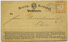 4100 Duisburg Deutsches Reich Postkarte EF MiNr 3, Stempel Duisburg Hochfeld
