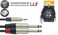 """STAGG NYC1/MPS2PR 3 FT 1M Y CABLE STEREO MINI 1/8"""" MALE JACK W 2 1/4"""" MALE JACKS"""