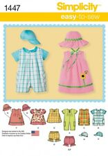 Simplicity Baby Easy Sewing Pattern 1447 Rompers, Dresses, Tops, Shorts &...
