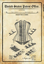 US Patent Korsett Corset 1890 Blechschild Schild gewölbt Tin Sign 20 x 30 cm