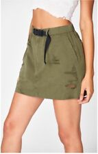 LF carmar olive green high rise cotton buckle belted skirt NWT sz 10
