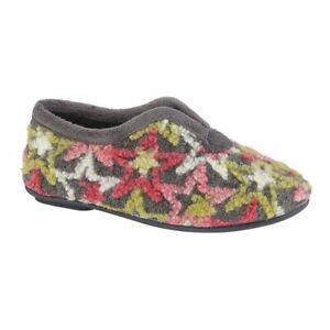 Sleepers V Throat slip on slippers Style Edwina Colour Grey Multi Size EU 36 New