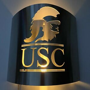 USC TROJANS Metal WALL SCONCE LIGHTING Cutout Insignia Plug In Fight On