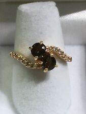 14k Rose Gold Bypass Ring With Smokey Quartz And Diamonds