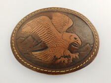 Hand Made Tooled Leather Flying Eagle Belt Buckle Oval Artisan Handcrafted