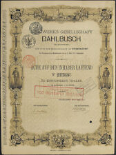 Dahlbusch Düsseldorf histor. Gründeraktie 1873 Gelsenkirchen Bergbau Zeche Kohle